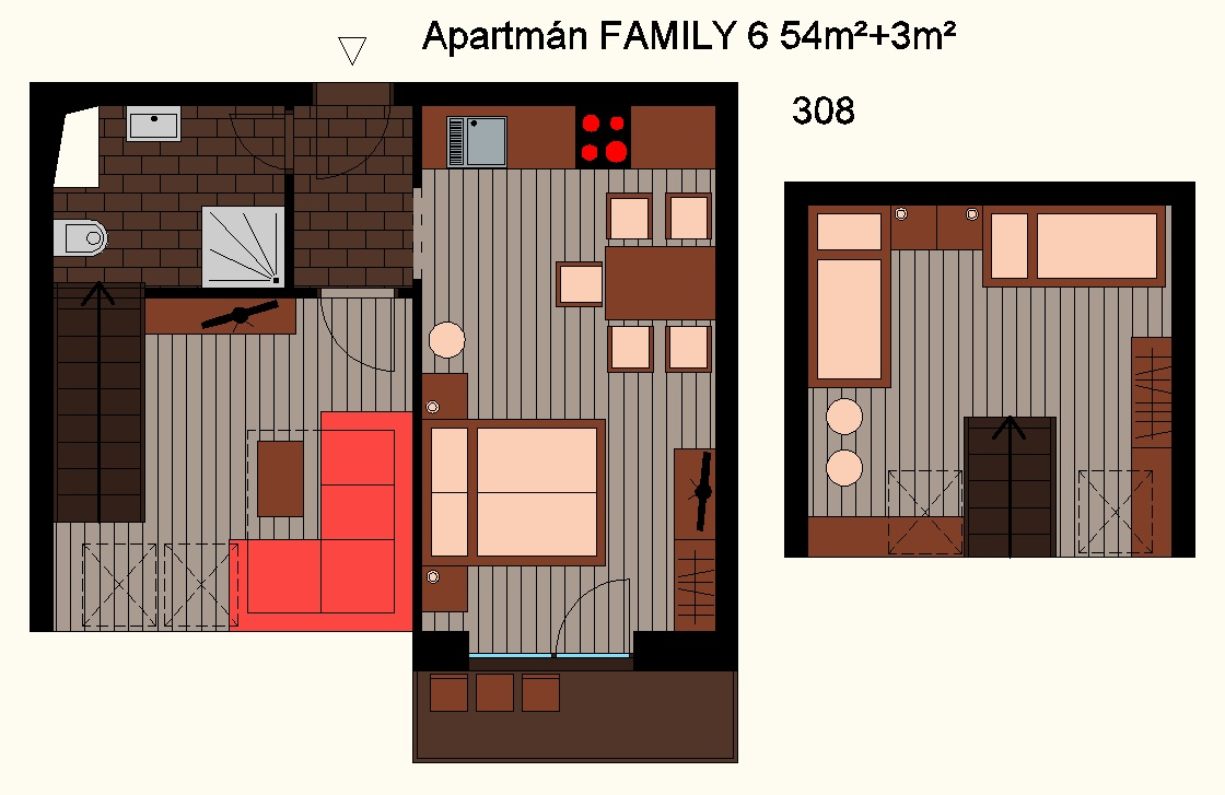 Ground plan - Maisonette apartment FAMILY with balcony [4+2]