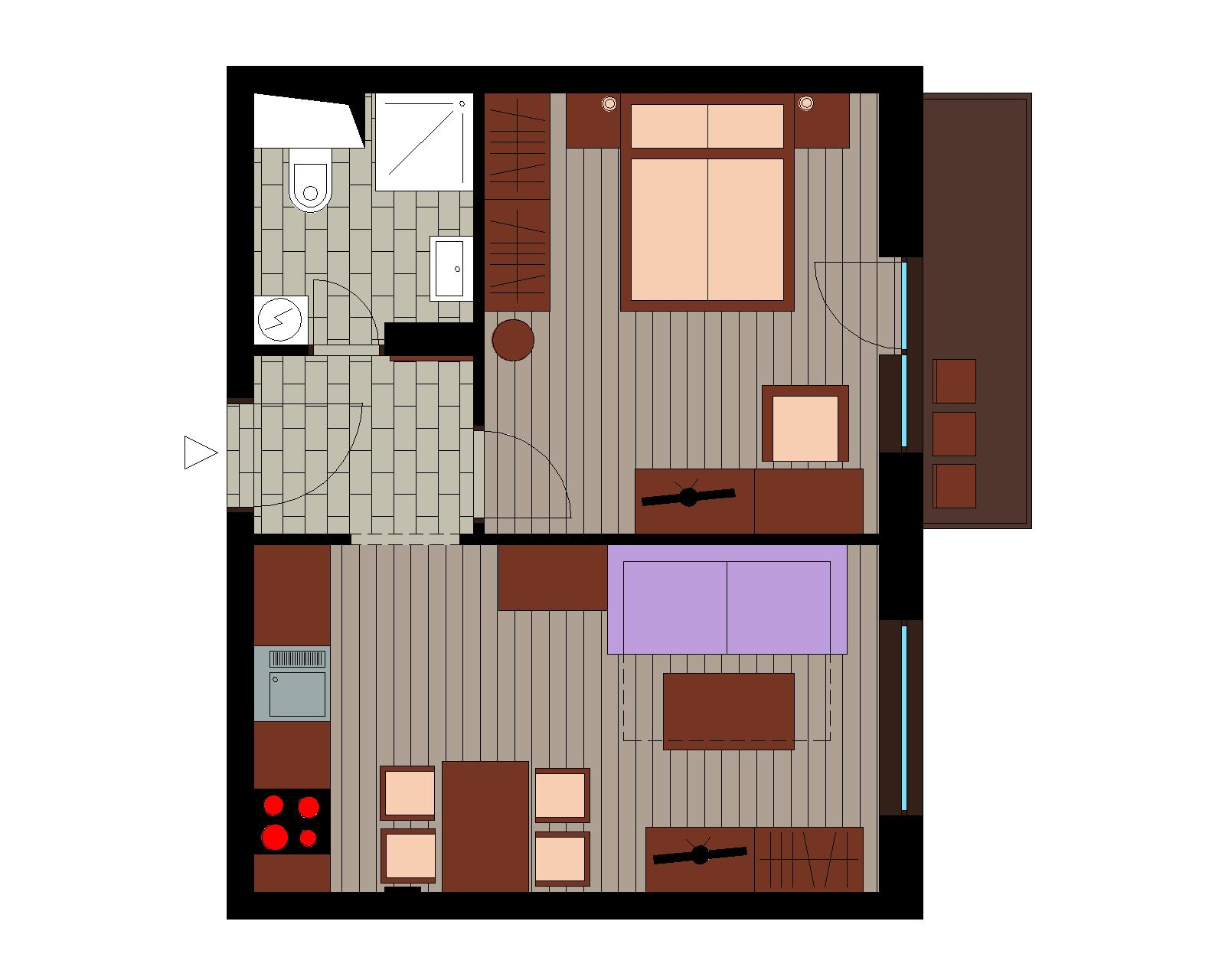 Ground plan - Suite DELUXE with balcony [2+2]