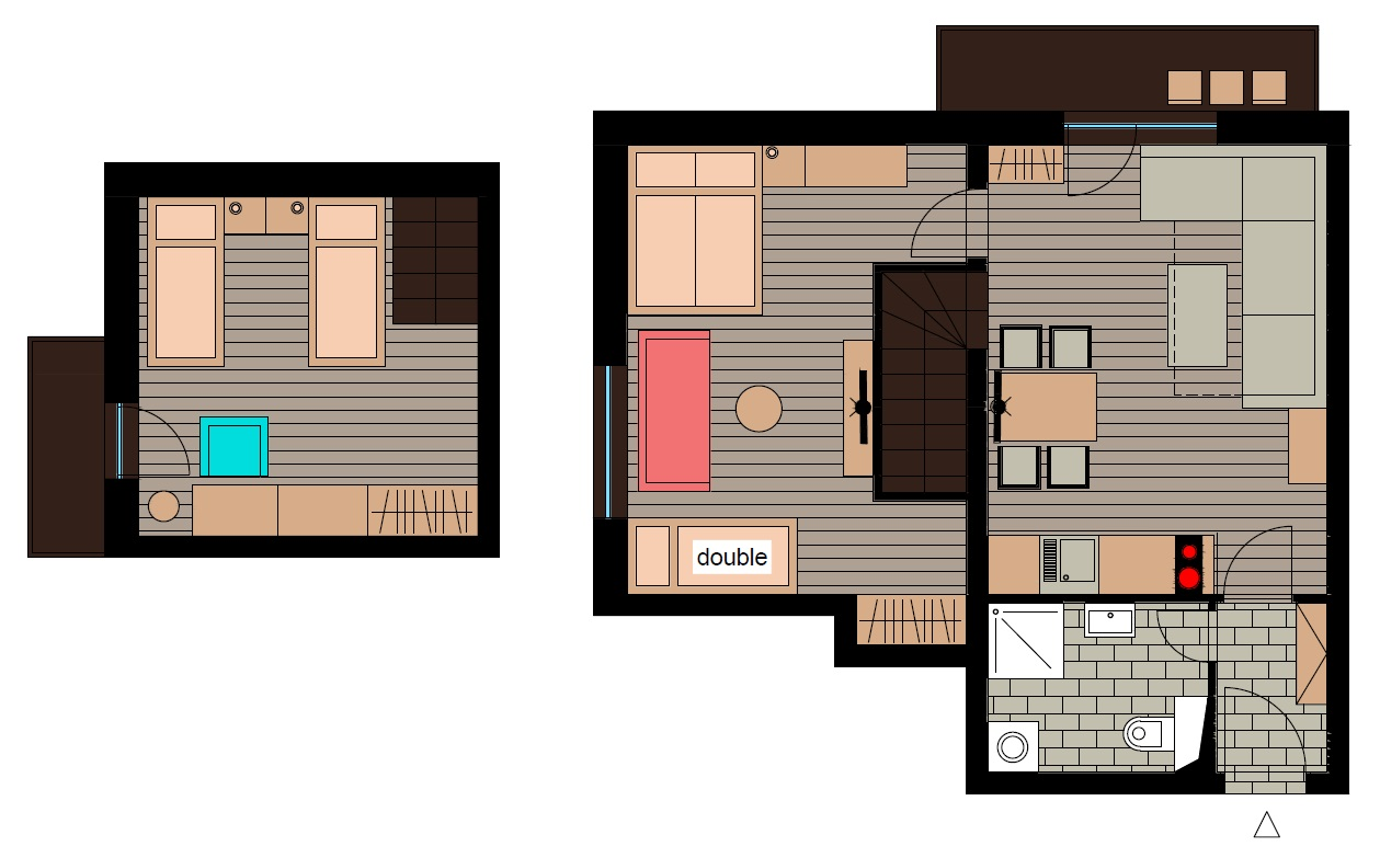 Ground plan - Maisonette apartment BIG FAMILY with two balconies [6+2]